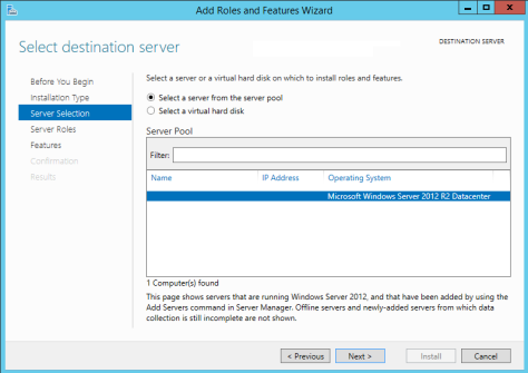 Add Roles and Features Wizard - Select Destination server