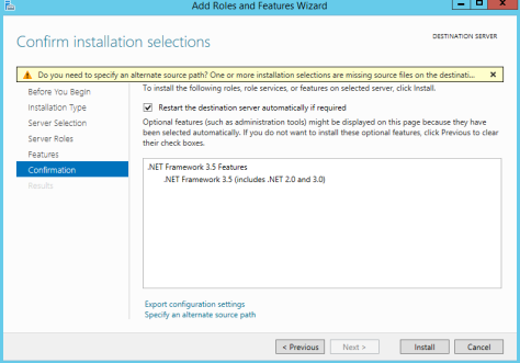 Installing DOTNET Framework 35 Features 2