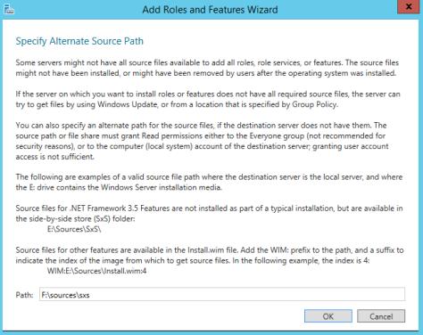 Installing DOTNET Framework 35 Features 3b
