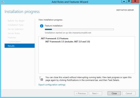 Installing DOTNET Framework 35 Features 5