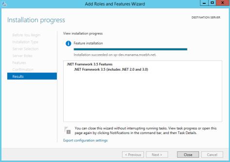 Installing DOTNET Framework 35 Features 6